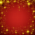 Christmas red starry background abstract frame holiday with golden stars and sparkles Royalty Free Stock Photo