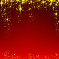 Christmas red starry background abstract holiday illustration with golden stars and sparkles Stock Photo