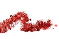 Christmas red tinsel with stars isolated on a white background Stock Photos