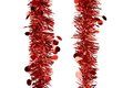 Christmas red tinsel with stars whole background Stock Image