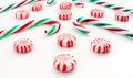 Christmas red white swirl candies Royalty Free Stock Photo