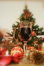 Christmas and red wine Stock Images