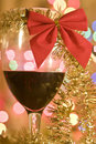 Christmas red wine with decoration Stock Photo