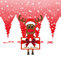 Christmas reindeer with banners Royalty Free Stock Photos