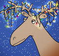 Christmas reindeer cartoon with horns wrapped in lights Royalty Free Stock Images