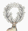 Christmas reindeer circle leaves composition eps trendy hipster with merry vector file with transparency for easy editing Stock Images