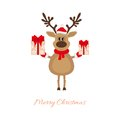 Christmas reindeer with gifts this is file of eps format Stock Photo