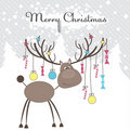 Christmas reindeer with gifts. Vector illustration Stock Image