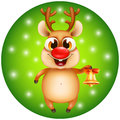 Christmas reindeer with golden bell Royalty Free Stock Photo