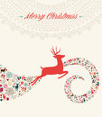 Christmas reindeer greeting card illustration vintage deer wave colorful elements postcard composition eps vector file organized Royalty Free Stock Images
