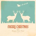 Christmas reindeer illustration of in retro holiday background Stock Photo