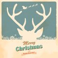 Christmas reindeer illustration of in retro holiday background Stock Photography