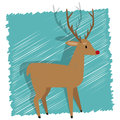 Christmas reindeer illustration of rudolph the red nosed on a blue background Stock Images