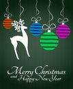 Christmas reindeer illustration of silhouette with xmas balls Stock Images