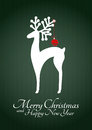 Christmas reindeer illustration of silhouette with xmas balls Royalty Free Stock Image