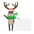 Christmas reindeer next to a presentation card illustration of deer on white background Royalty Free Stock Photography