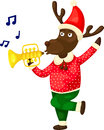 Christmas reindeer playing music illustration of on white Royalty Free Stock Photo