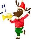 Christmas reindeer playing music