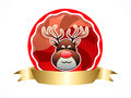 Christmas reindeer with ribbon vector illustration Royalty Free Stock Images