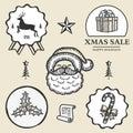 Christmas reindeer santa gift box candy symbol