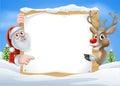 Christmas Reindeer and Santa Sign Royalty Free Stock Photo