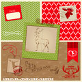 Christmas reindeer set scrapbook design element frames tags labels silhouettes in Royalty Free Stock Photos