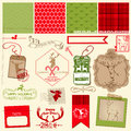 Christmas reindeer set scrapbook design element frames tags labels silhouettes in Stock Image