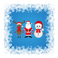 Christmas reindeer snowman and santa claus on a blue background Royalty Free Stock Photo