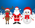 Christmas reindeer snowman and santa claus on a blue background Stock Photography