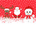 Christmas reindeer snowman and santa claus in a forest Royalty Free Stock Photo