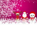 Christmas reindeer snowman and santa claus in a forest Stock Images