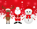 Christmas reindeer snowman and santa claus on a red background Stock Photos