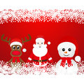 Christmas reindeer snowman and santa claus on a red background Royalty Free Stock Photo