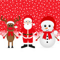 Christmas reindeer snowman and santa claus in a winter forest Royalty Free Stock Photography
