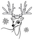 Christmas reindeer with snwoflakes black illustration Royalty Free Stock Images