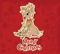 Christmas reindeer tangled in garland a lights greeting card Royalty Free Stock Photo