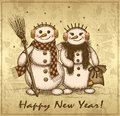 Christmas retro card with two snowmen boy and girl Royalty Free Stock Photo