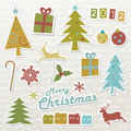 Christmas retro design elements Royalty Free Stock Images