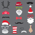 Christmas retro party set glasses hats lips mustaches mask masks for design photo booth in Stock Photo