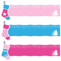 Christmas retro socks horizontal banners a collection of three with on pink and blue background eps file available Stock Image