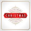 Christmas retro typographic and flourishes Royalty Free Stock Photo