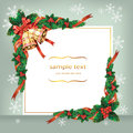 Christmas ribbon bells and berry on card.