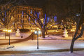 Christmas in riga snowmans the park the night of Royalty Free Stock Photo