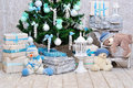 Christmas room decoration in blue and mint colors closeup of cosy interior with pine tree teddy bears Royalty Free Stock Photography