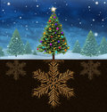 Christmas roots winter holiday concept with a decorated festive green pine tree with the in the shape of a snow flake with a Royalty Free Stock Photography