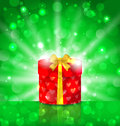 Christmas round gift box on light background with glow illustration Stock Photo