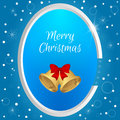 Christmas round tag with gold bell and red bow on a blue background with snowflakes. Suitable for web design, postcards, invitatio Royalty Free Stock Photo
