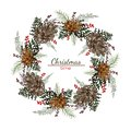 Christmas round wreath with cones and pine branches
