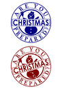 Christmas rubber stamp are you prepared a set of two on a white background Royalty Free Stock Photo