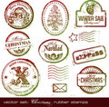 Christmas rubber stamps Stock Photos